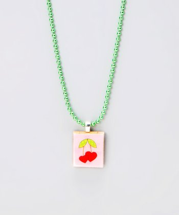 Heart Cherry Scrabble Tile Necklace