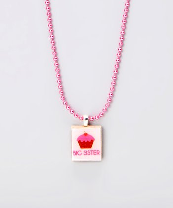 Big Sis Cupcake Scrabble Tile Necklace