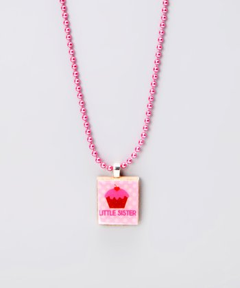 Little Sis Cupcake Scrabble Tile Necklace
