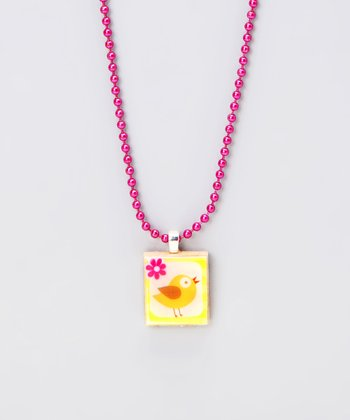 Bird Scrabble Tile Necklace