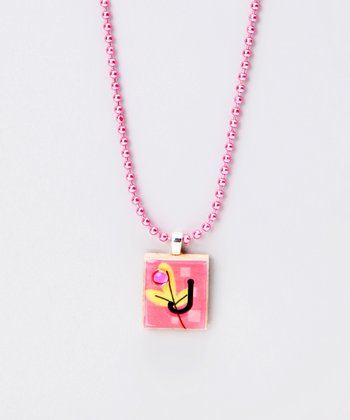 'J' Scrabble Tile Necklace