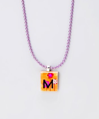 'M' Scrabble Tile Necklace
