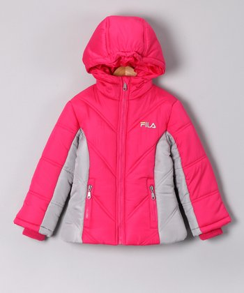 Cabaret Pink & Gray Puffer Coat - Girls