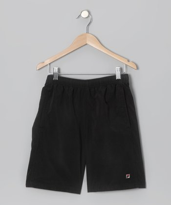 Black Essenza Tennis Shorts - Boys
