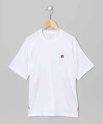 White & Red Performance Tee - Boys