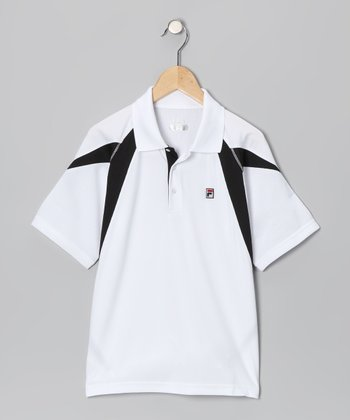 White & Black Polo - Boys