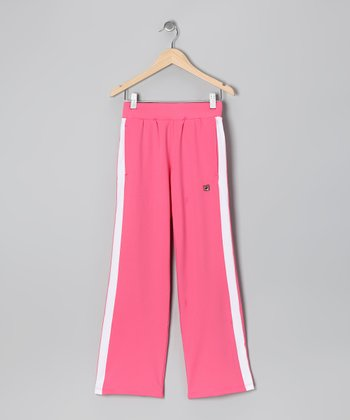 Rose & White Stripe Tennis Pants - Girls