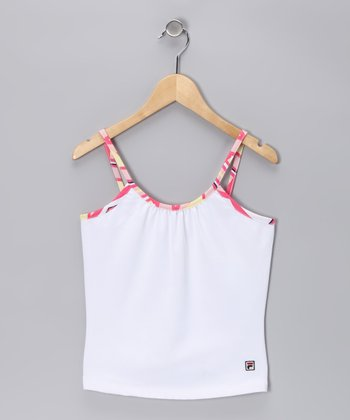 White & Pink Tennis Tank - Girls
