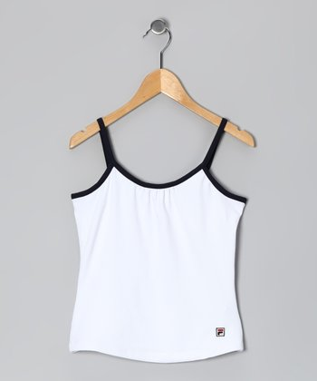 White & Peacoat Tank - Girls