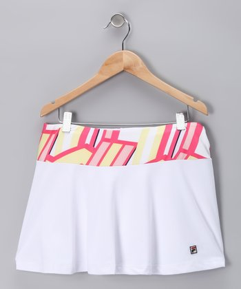White Geometric Skort - Girls