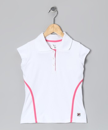 White & Rose Stripe Polo - Girls