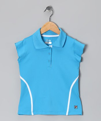 Blue & White Stripe Polo - Girls