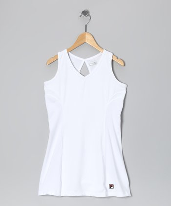 White Keyhole Tennis Dress - Girls