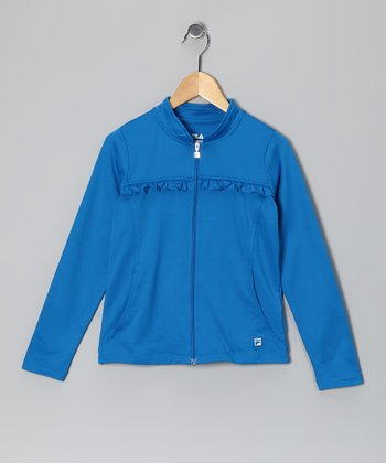 Imperial Blue Ruffle Jacket - Toddler & Girls