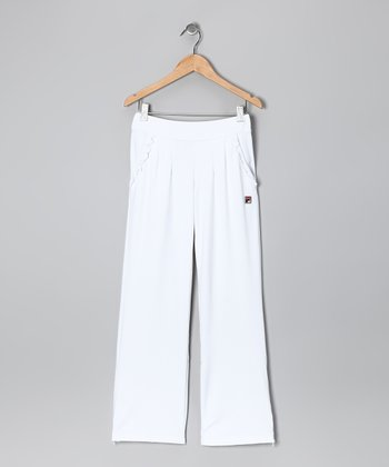 White Ruffle Pants - Girls