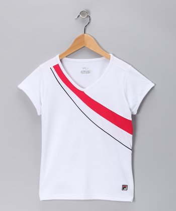 White & Cherry Bomb Court Tee - Toddler