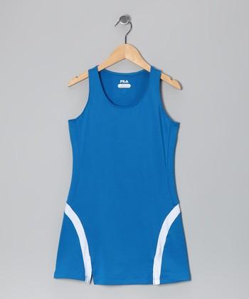Imperial Blue & White Flare Dress - Girls