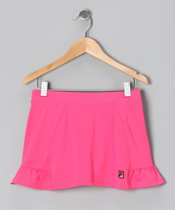 Pink Flowers Peplum Skort - Toddler & Girls