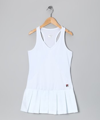 White Whiteline Dress - Girls