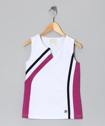 White & Violet Stripe Tank - Girls