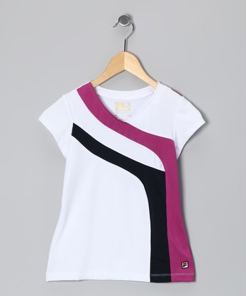 White & Violet Stripe V-Neck Top - Toddler & Girls