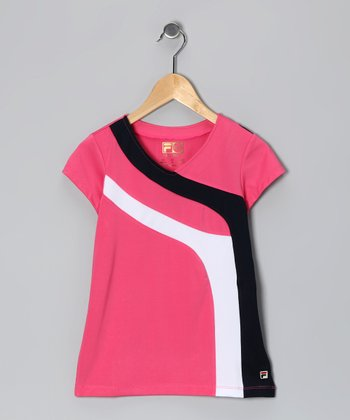 Watermelon Stripe V-Neck Top - Girls
