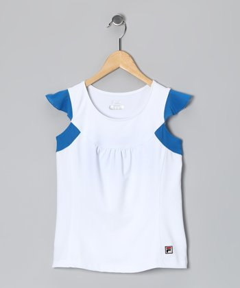 White & Blue Baseline Angel-Sleeve Top - Toddler & Girls