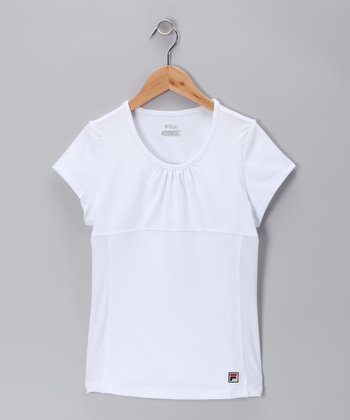 White Baseline Tee - Toddler & Girls