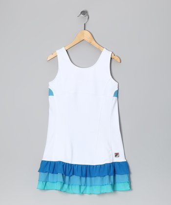 White & Blue Baseline Dress - Girls