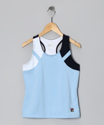 Bluebell & White Tank - Toddler & Girls
