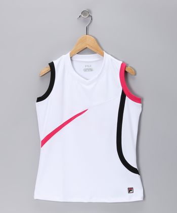White & Watermelon Circle Tank - Girls