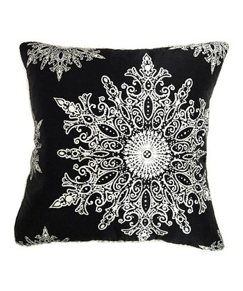 Black Elegant Snowflake Silk Pillow