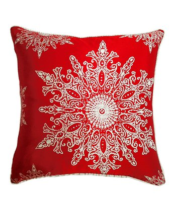 Red Elegant Snowflake Silk Pillow