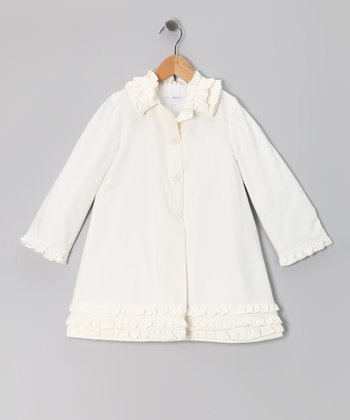 Cream Ruffle Coat - Infant & Toddler