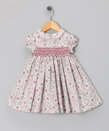 Pink & Gray Floral Babydoll Dress - Infant