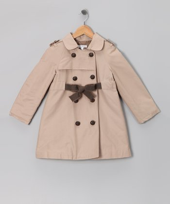 Khaki Double-Breasted Trench Coat - Toddler & Girls