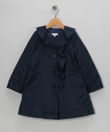 Navy Ruffle Trench Coat - Toddler & Girls