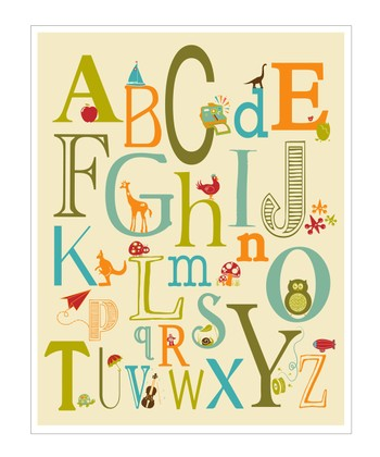 Blue & Green ABC Creatures Giclée Print