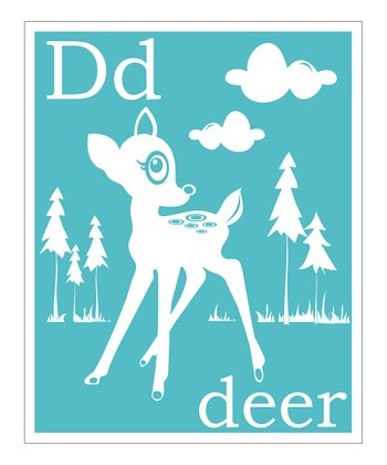 Aqua 'D is for Deer' Giclée Print