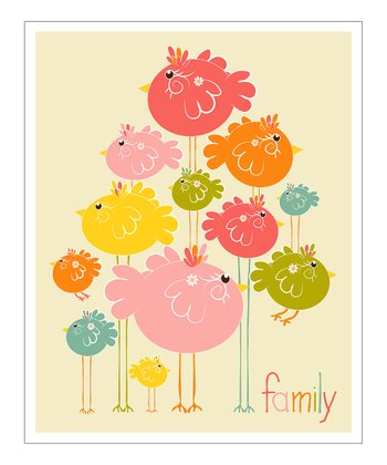 Pink & Orange 'Family' Giclée Print
