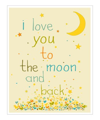 Cream & Blue 'I Love You to the Moon' Giclée Print