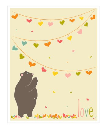 Cream & Pink 'Love' Bear Giclée Print