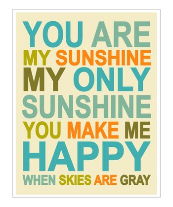 Blue & Orange 'You Are My Sunshine' Giclée Print