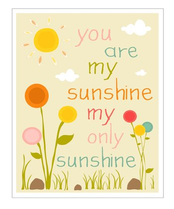 Cream & Pink 'You Are My Sunshine' Flower Garden Giclée Print
