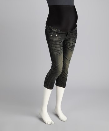 Black Denim Whiskered Maternity Capri Jeans
