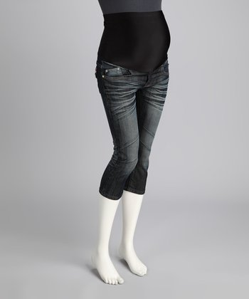 Faded Denim Whiskered Maternity Capri Jeans