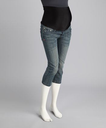 Light Blue Whiskered Maternity Capri Jeans