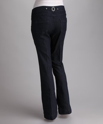 Dark Blue Under-Belly Maternity Flare Jeans