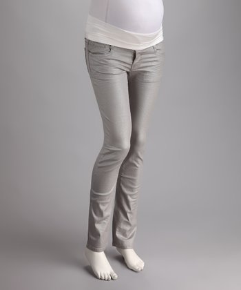 Gray Over-Belly Maternity Skinny Pants