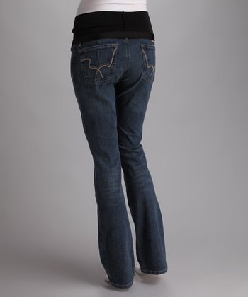 Blue Squiggle Pocket Over-Belly Maternity Jeans